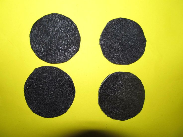 Black leather discs 50mm (4 pcs) DIY cut leather flowers Craft supplies Jewelry materials Leather pieces