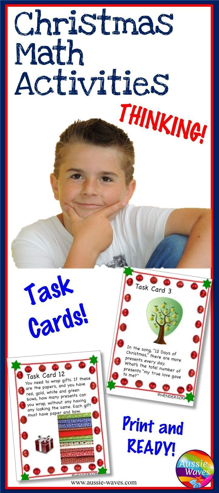 Math Task cards with a Christmas theme. Lots of deep thinking required. Printable activities for learning.