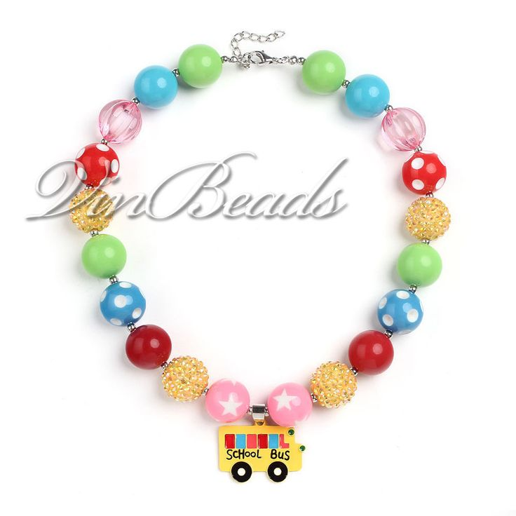 Yellow School Bus Pendant Acrylic Chunky Bead Bubblegum Gumball Kids Necklace  #Unbranded #Necklace
