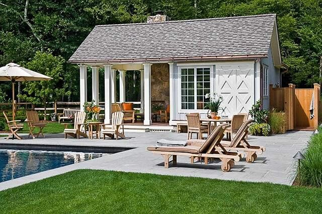 outdoor poolhouse building