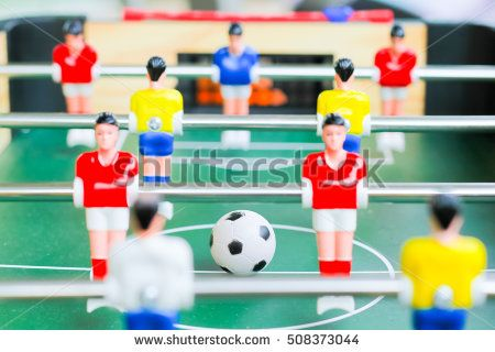 football table soccer, Table football game, Soccer table with red and yellow players.table football soccer game (kicker)