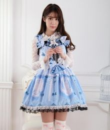 Sweet Lace Blue Princess Blue Cat Print Sling Straps Sweet Lolita Dress JSK
