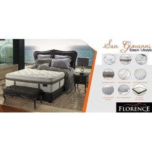 Harga Spring Bed Florence SAN GIOVANNI Seri Prestige Living ketebalan kasur : 42.5 cm Sandaran Cesare tinggi 150 cm Divan Prestige 24 cm Comfort Level : Medium - See more at: http://hargafurnitureonline.com/springbed-florence/2746-harga-spring-bed-florence-san-giovanni.html