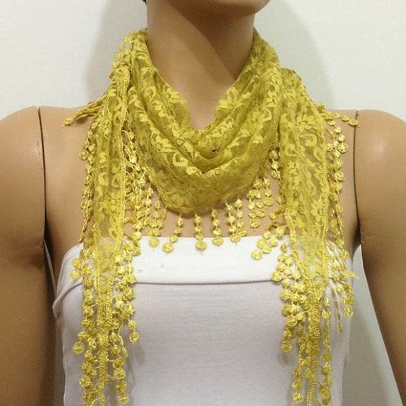 YELLOW Lace scarf with lace fringe   MUSTARD YELLOW by istanbuloya
