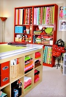 so organized!!Fabrics Storage, Cutting Tables, Sewing Spaces, Crafts Room, Room Ideas, Dreams Room, Sewing Rooms, Cut Tables, Craft Rooms