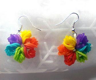 1 Paar Ohrringe Ohrhänger aus Rainbow Loom von MeinZauberstuebchen