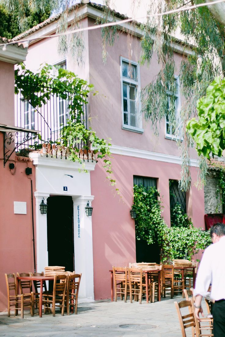 Pink Cafe in Athens, Greece