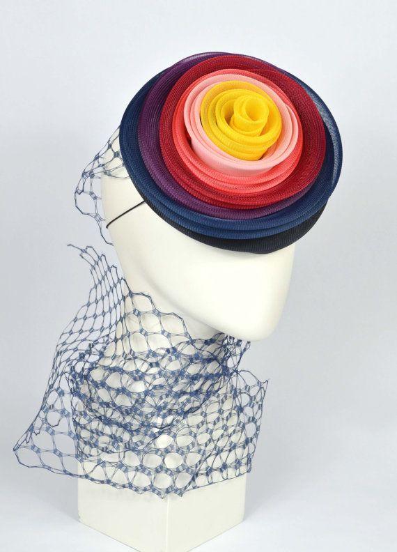 Crin Pillbox Fascinator Rainbow colours
