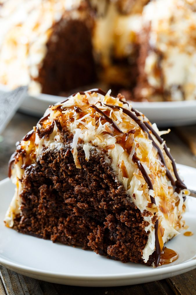 Samoa Bundt Cake- moist chocolate cake covered in caramel frosting and toasted coconut