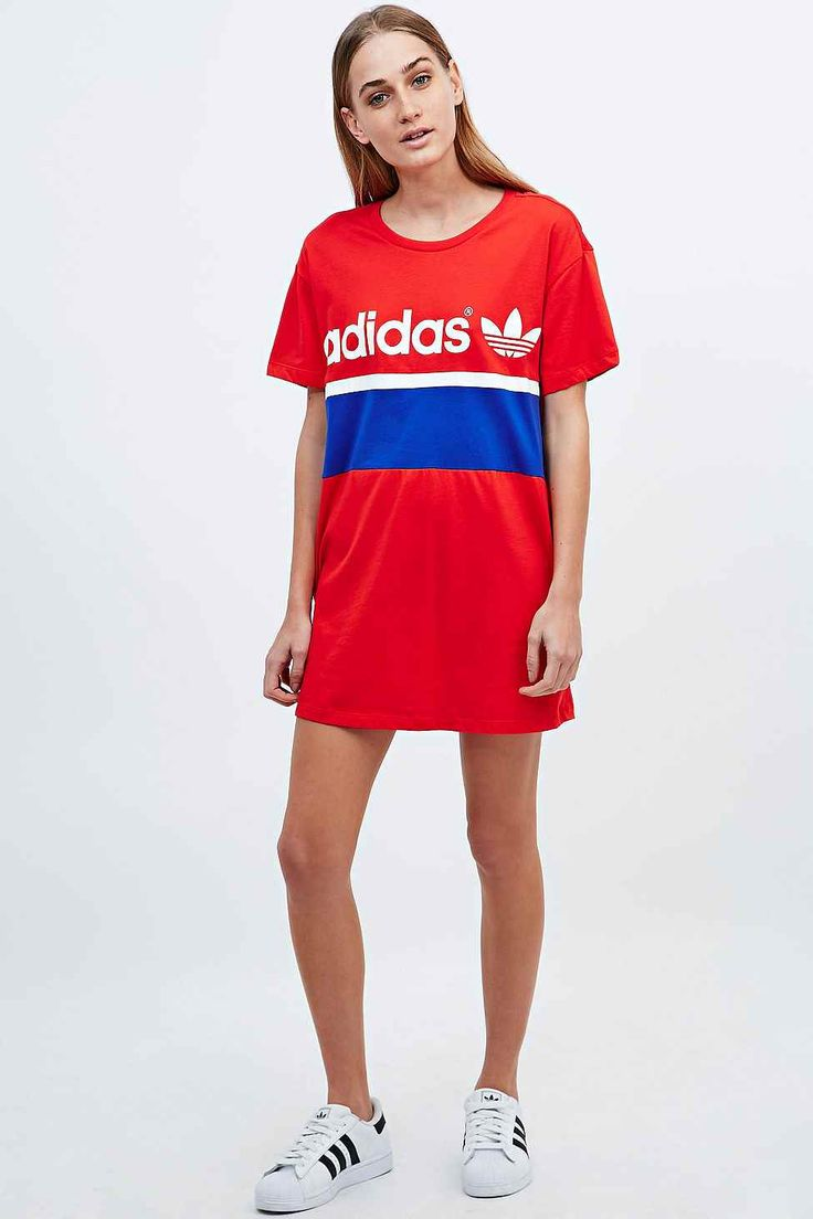 Adidas City Tee Dress in Red - Urban Outfitters