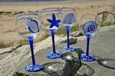 Ocean Theme Wine Glasses | Ocean themed wine glasses