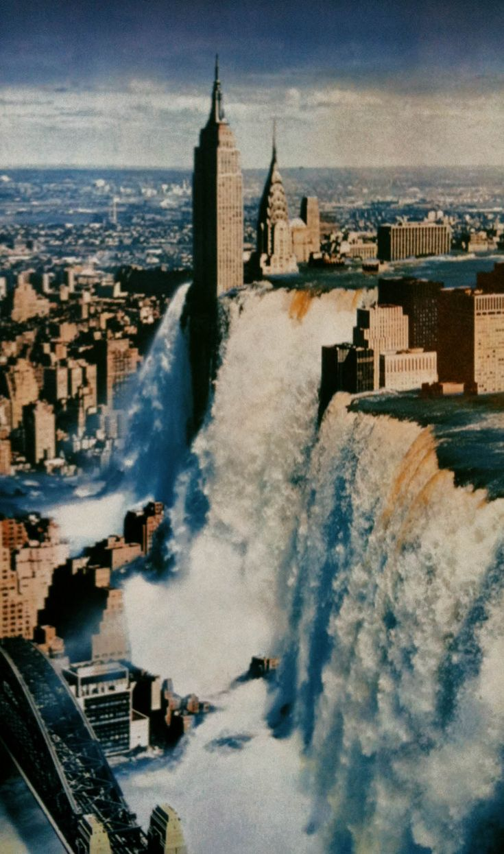 The flood walls breaking
