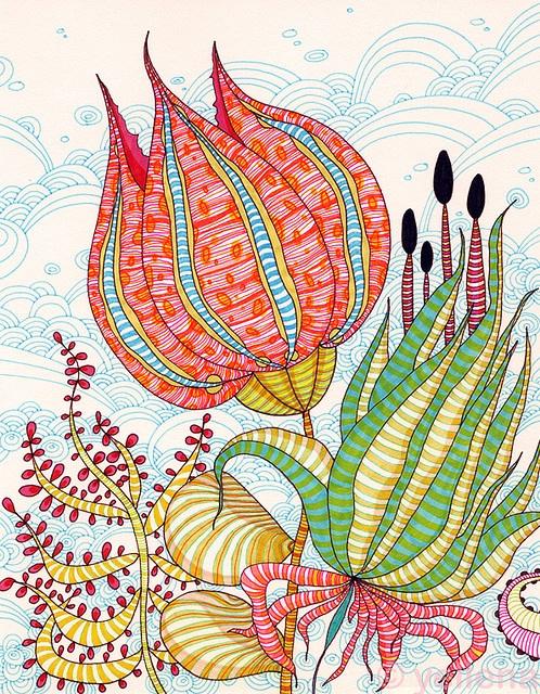"""Petals"" - ink abstract by Yellena James #art #graphics #print"