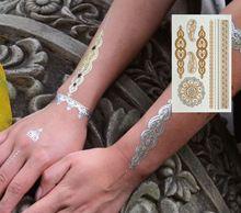 Hot moda 2015 de Prata De Ouro Metálico Arte no Corpo Tatuagem Temporária Sexy tatuagens de Henna Não-Tóxico Flash Tatuagens Etiqueta Para mulheres(China (Mainland))