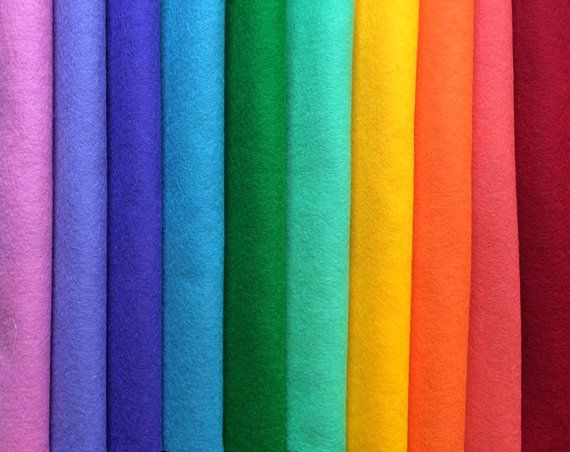 PURE WOOL FELT10 Rainbow ColoursStuffed by HeartFeltDolls on Etsy