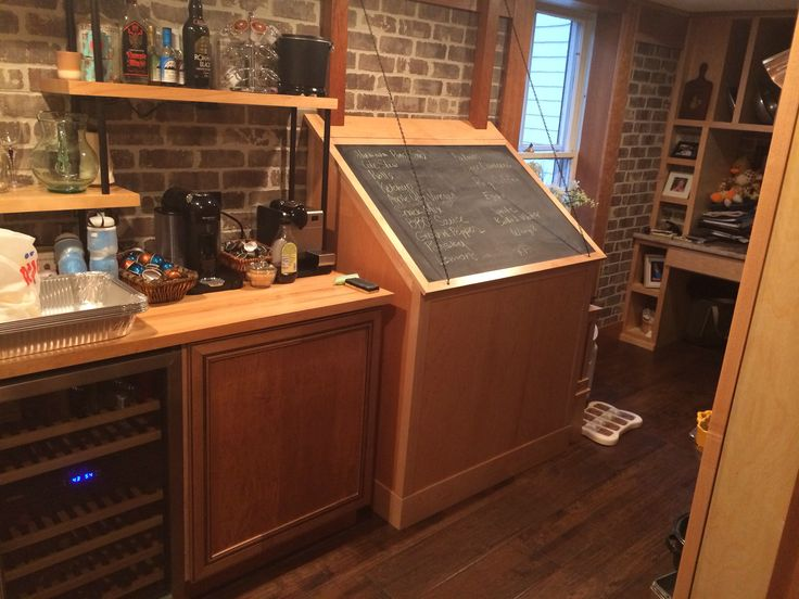 Deep freezer built-in with chalkboard grocery list cover