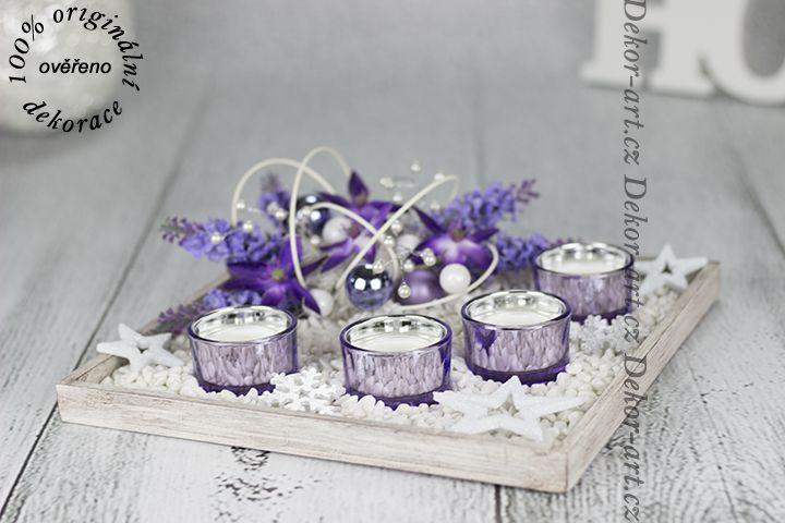 Krásný svícen na stůl bílá patina s fialovým odstínem.