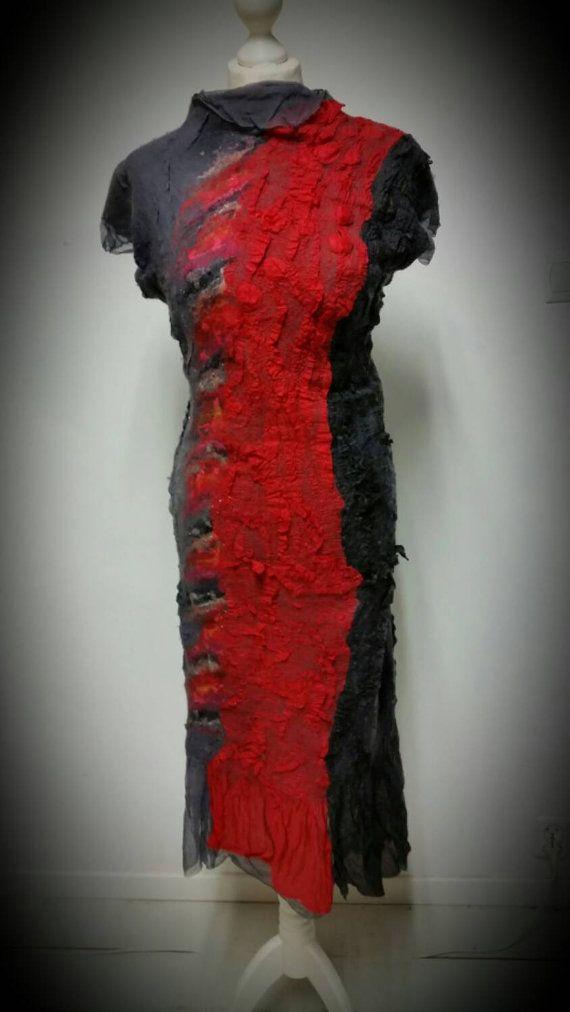 Free ShippingFabulous Dress gray silk merino wool red от Art4Deko