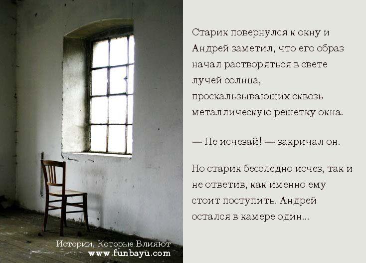 Старик повернулся к окну и Андрей заметил, что его образ начал растворяться в свете лучей солнца, проскальзывающих сквозь металлическую решетку окна.  — Не исчезай! — закричал он.  Но старик бесследно исчез, так и не ответив, как именно ему стоит поступить. Андрей остался в камере один.  http://www.funbayu.com/articles/zatvornik-kak-vybratsya-iz-tyurmy-sobstvennyx-ubezhdenij/