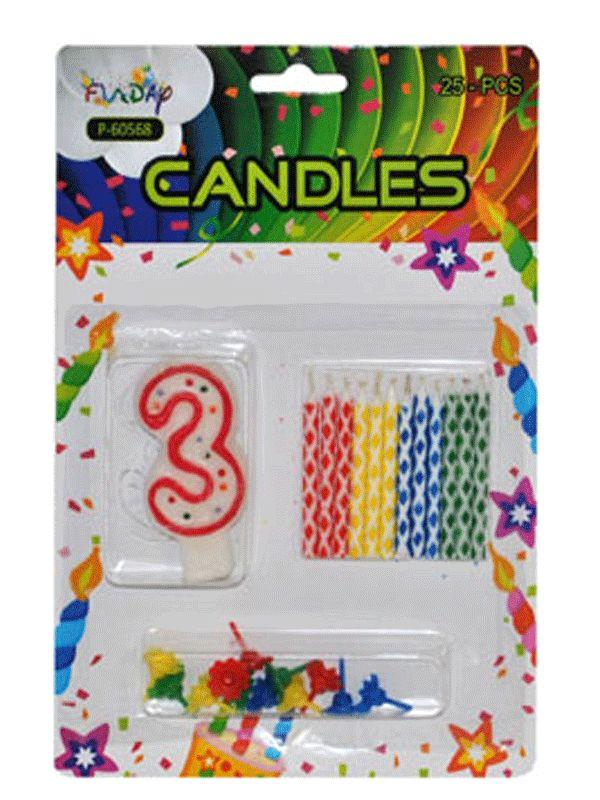 Verjaardag kaarsen set nummer 3. Deze kaarsen prikt u bijvoorbeeld in een verjaardagstaart. U ontvangt een groot cijfer en 12 kleine gekleurde kaarsen. Inclusief prikker.