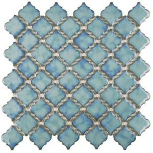 Merola Tile, Tangier Marine 13 in. x 13-3/8 in. x 5 mm Porcelain Mosaic Floor…