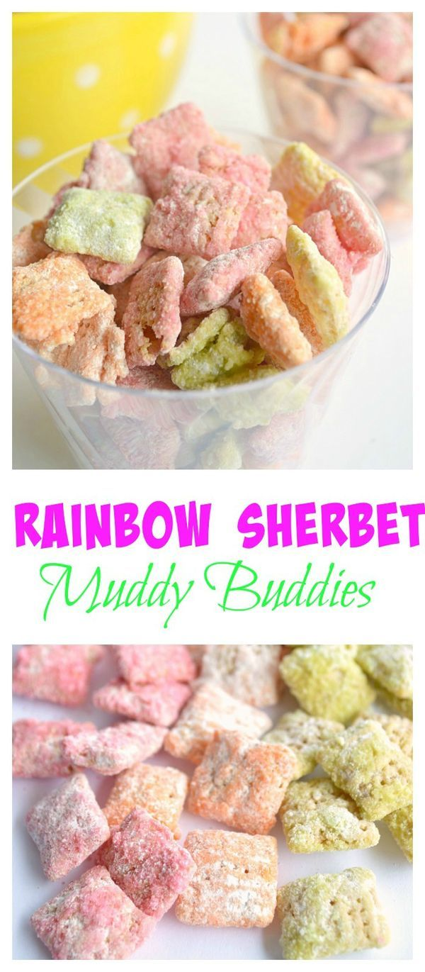 Rainbow Sherbet Muddy Buddies.  Raspberry, Orange and Lime Muddy Buddies make this the perfect springtime snack!