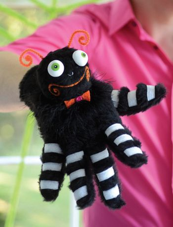 How to make a spider glove puppet! Fun craft project - featured in Glitterville's Handmade Halloween - A Glittered Guide for Whimsical Crafting.
