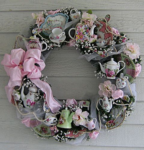 How cool is this a vintage tea party wreath!