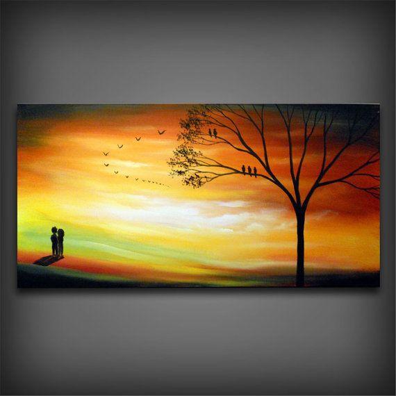 Autumn fall orange Landscape painting large acrylic tree original landscape painting bird silhouette 48 x 24 inch Mattsart