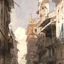 Richard Parkes Bonington, 'Corso Sant'Anastasia, Verona with the Palace of Prince Mafffei', 1826. Museum no. 3047-1876