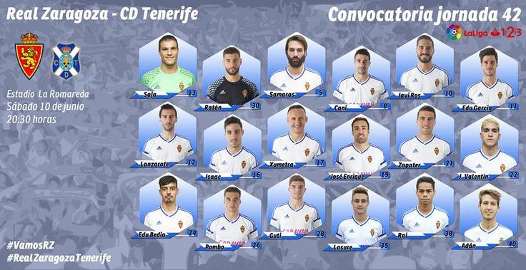 Convocatoria Jornada 42 Real Zaragoza-Tenerife
