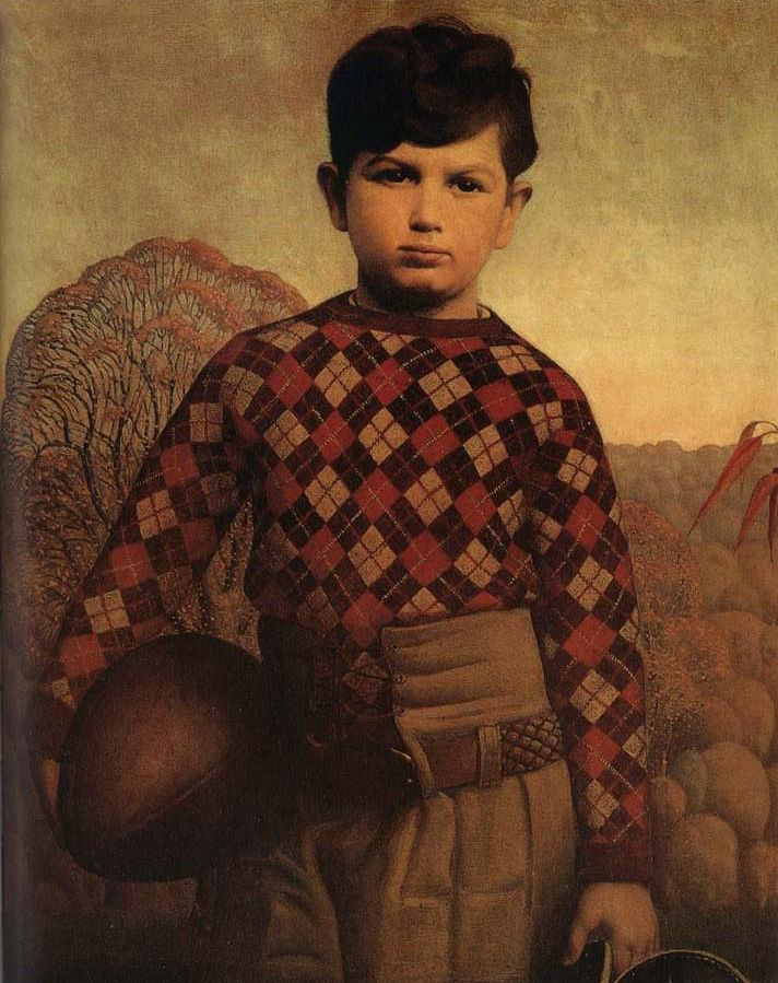 Plaid Sweater. Grant Wood. Saw this at exhibit at Art Museum in Cedar Rapids, Iowa