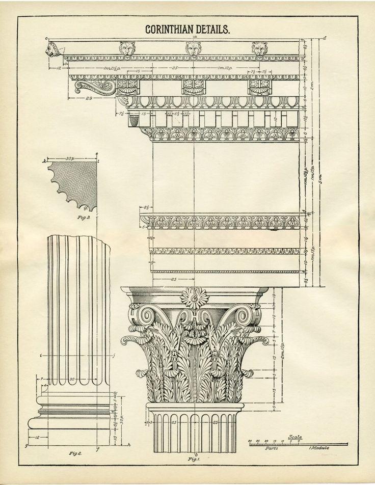 Architecture Printable Corinthian Columns - Diagram! - The Graphics Fairy