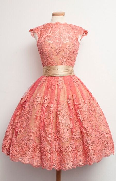 Coral Ball Gown Lace Homecoming Prom Party Dresses 2016, 2016 Elegant Knee Length Homecoming Dresses Lace gold sash for Women   dressywomen.com