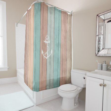 #rustic  Summer #beach  #wood  Nautical Stripes & Anchor Shower Curtain - tap, personalize, buy right now! #woodlook #aqua #peach #anchor #beachhouse #nautical #anchor #stripes #bathroomideas #bathroomdecor #showercurtain #bathroomdesign r