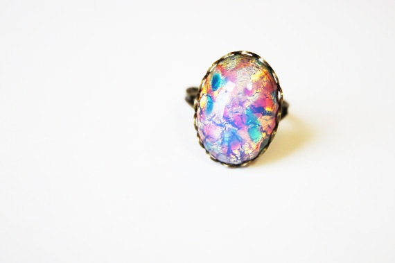 Opal // Opal Ring // Purple Stone Ring // Purple Cocktail Ring // Adjustable Bronze Ring // Gift for Friend // Opal. $19.00, via Etsy.