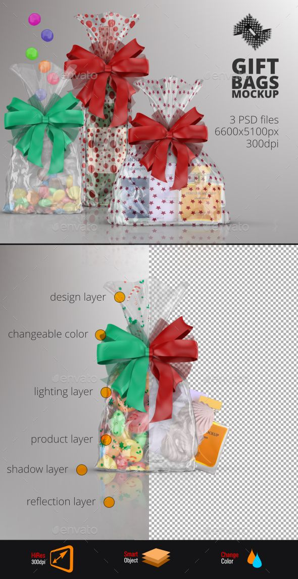 Clear Gift Bag Mockup by Fusionhorn Features 3 Layered PSD files 66005100px @ 300dpi Smart Object For Package Design 2 Smart Objects For Product Graphics (food or non