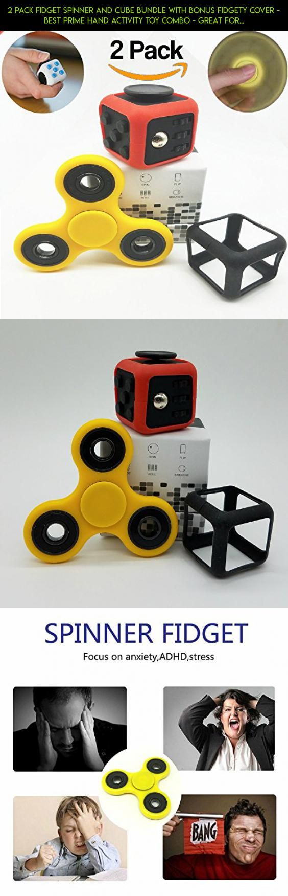 2 Pack Fidget Spinner and Cube Bundle with BONUS Fidgety Cover - Best Prime Hand Activity Toy Combo - Great for Anxiety, Stress Relief, Focus, Adhd - Cool Kids Adults Gift Set #drone #technology #gadgets #combo #camera #shopping #racing #plans #fidget #products #parts #tech #fpv #cube #kit