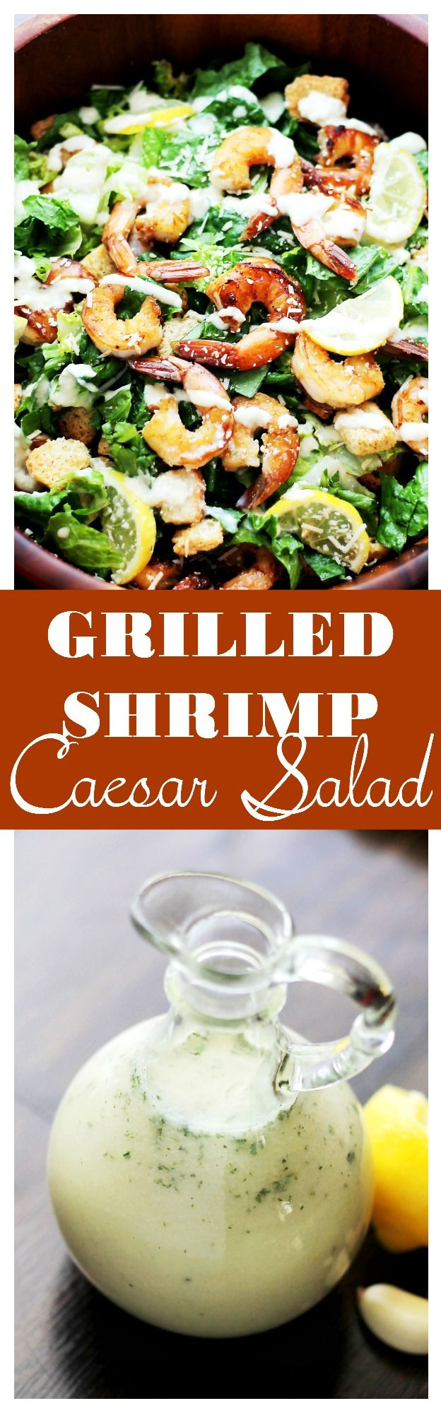 Grilled Shrimp Caesar Salad with Homemade Light Caesar Dressing | www.diethood.com | Crunchy and creamy classic caesar salad tossed with juicy grilled shrimp, garlic croutons, and a lightened-up, homemade caesar salad dressing made without egg yolks! | #shrimp #salad