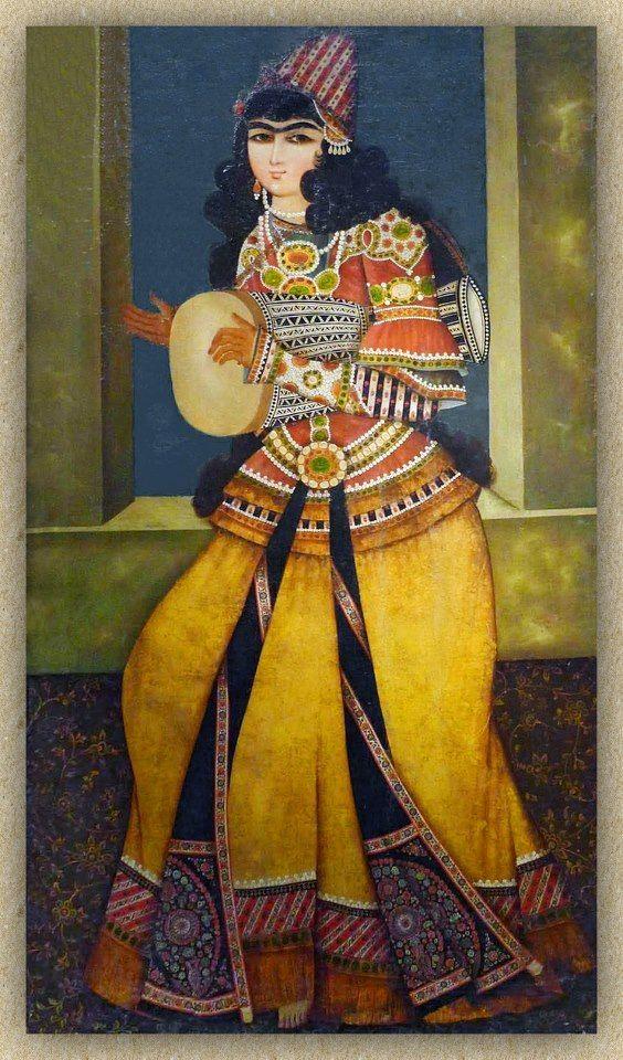 Tombak player Persian painting on wood, Qajar era Conserved in Tiflis [Tblisi], Georgia