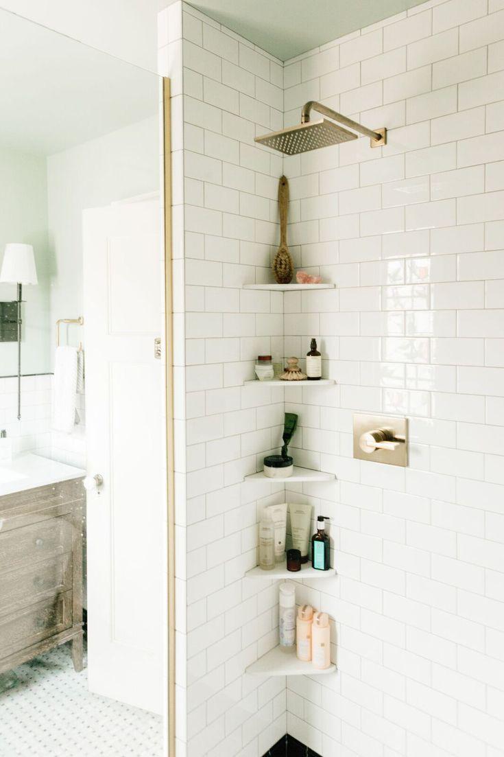 Discover These Creative 17 Small Bathroom Shelf Ideas You Ll Love Small Bathroom Shelves Shower Storage Upstairs Bathrooms