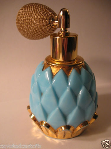 DEVILBISS Turquoise & Gold ARTICHOKE MILK GLASS PERFUME BOTTLE+BRASS ATOMIZER