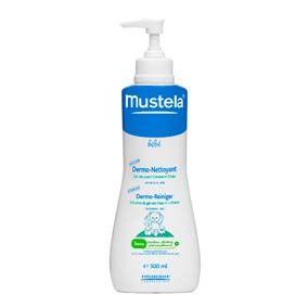 Mustela Gel de baño dermo - limpiador 500 ml. Gel lavante sin jabón, ideal para recién nacidos, para limpiar el cuerpo y el cuero cabelludo del bebé.