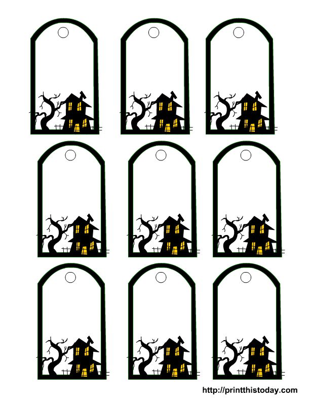 Haunted house template halloween printable tags for Tags for gift bags template