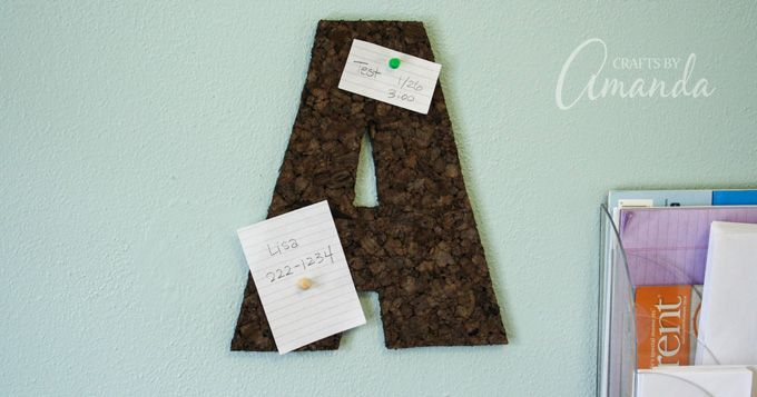 Corkboard Wall Letter: easy dorm room craft in less than 20 minutes This corkboard wall letter is perfect for a teen's bedroom or a dorm room. This corkboard craft is really easy to make and very inexpensive.
