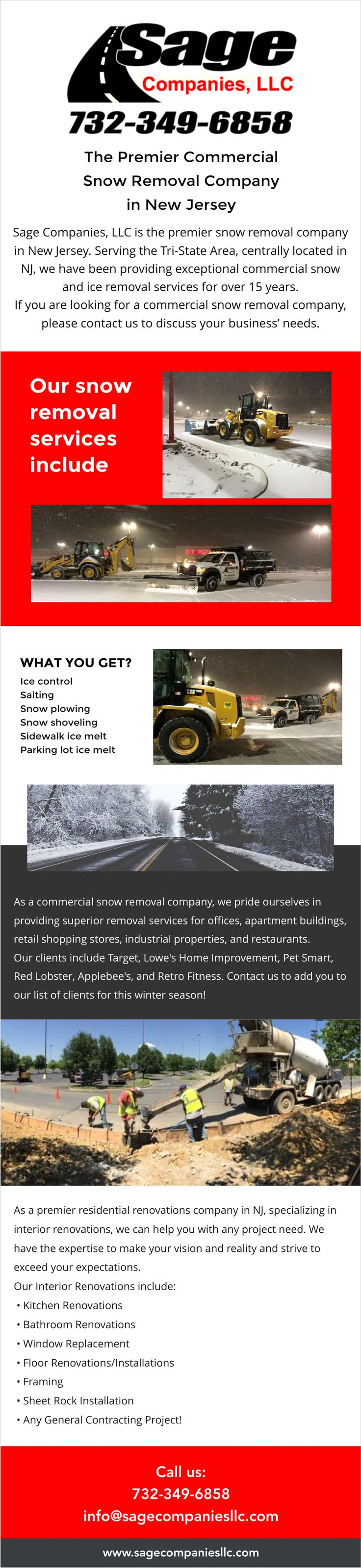 Sage Companies, LLC started out as the premier snow and ice removal company for the Tri-State, providing exceptional commercial snow removal services. Over the last 11 years our team of experienced professionals has grown to include experts in the fields of Paving, Concrete, Stone Work, Landscape Planting, Excavation, Demolition, Commercial Renovations and Residential Renovations. Sage Companies, LLC uses the most advanced tools, machinery and techniques to get