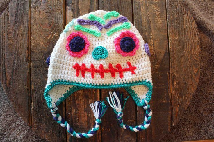 Crocheted sugar skull hat