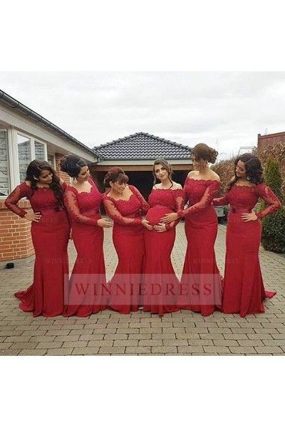 Plus Size Red Long Sleeve Chiffon Empire Maternity Off The Shoulder Bridesmaid Dress