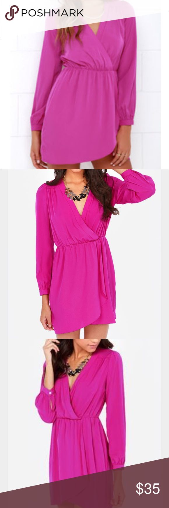 That's a Wrap Long Sleeve Magenta Dress Woven magenta fabric parades down a surplice bodice which gathers along the yoke and elasticized waist, where a full, tulip-style skirt ensures you'll never be stuck wondering what to wear again! Long sleeves have button cuffs. Lulu's Dresses Wedding