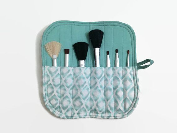 Mini Makeup Brush Roll Case - Teal diamonds - Women's Makeup Brush Storage Travel Carrier Holder - Upcycled cotton